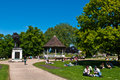 Summer at forbury gardens reading june unidentified people enjoying an early day in reading england on june season starts Royalty Free Stock Image
