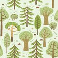 Summer forest. Coniferous and deciduous different trees grow on a green background. Between them, mushrooms, berries and bushes. S