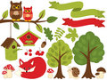 Summer Forest Set with Red Fox, Owls, Birdhouses, Trees, Mushrooms. Forest Set Clipart. Vector Illustration