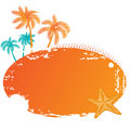 Summer frame with palms and starfish Royalty Free Stock Photo