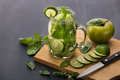 Summer fresh fruit drink. fruit Flavored water mix with lime, ap Royalty Free Stock Photo