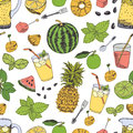 Summer freshness pattern with watermelon and pineapple Royalty Free Stock Photos