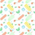 Summer fruit ice-cream pattern. Vector seamless pattern with different popsicles, mint leaves, peaches or apricots and ice cubes o Royalty Free Stock Photo