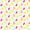 Summer fruit salad pattern with bananas, pineapples and watermelons.