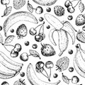 Summer fruit seamless pattern. Hand drawn vintage vector background. Fruit and berry set of banana, cherry, srawberry,