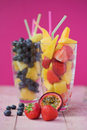 Summer fruit smoothies Stock Photography