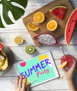 Summer Fruits Digital Tablet Concept Royalty Free Stock Photo