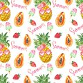 Summer fruits seamless pattern. Fun and cute print with pineapple, papaya, strawberry and fruit popsicles on white background