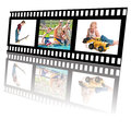 Summer fun activities filmstrip of for little boys and family Royalty Free Stock Images