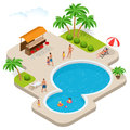 Summer fun at aqua park. Child with parents on water slide at aquapark. Summer holiday. Flat 3d vector isometric