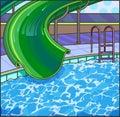 Summer fun aqua park. Water hills in an aquapark. Royalty Free Stock Photo