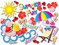 Summer Fun Doodle Vector Illustration Royalty Free Stock Photo
