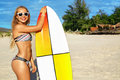Summer Fun. Leisure Sporting Activity. Surfing. Woman With Surfboard Royalty Free Stock Photo