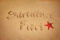 Summer fun written on sand Royalty Free Stock Photo