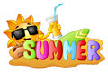 Summer funny background with happy smiling sun holding a orange juice, surfing and sand Royalty Free Stock Photo