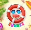 Summer funny vector concept with 3d text and summer elements