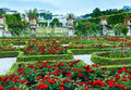 Summer garden with rose flowerbed salzburg austria gardens of mirabell palace red flowerbeds and hohensalzburg fortress behind Royalty Free Stock Image