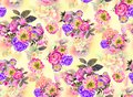 Summer garden roses and iris flowers watercolor seamless pattern on yellow background