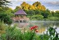 Summer Gazebo on Lake in Vienna VA Royalty Free Stock Photo