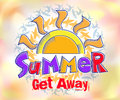 Summer Get Away Colorful Title in Watercolor Effects Background Royalty Free Stock Photo