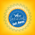 Summer get away title in a round blue color with a surfers including white flower including orange background vector illustration Stock Images