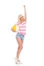 Summer Girl With A Beach Ball