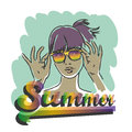 Summer girl portrait beautiful retro with rainbow sunglasses hand drawn illustration Royalty Free Stock Images