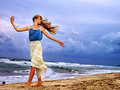 Summer girl sea look on water Royalty Free Stock Photo