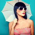 Summer girl with an umbrella Stock Photography