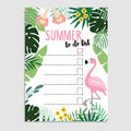 Summer greeting card, invitation. Wish list or to do list. Flamingo bird and palm leaves Web banner, background. Stock