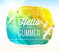 Summer greeting and flying seagulls against a watercolor background banner Royalty Free Stock Image