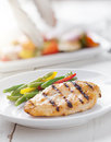 Summer grilling time - grilled chicken with vegetables. Royalty Free Stock Photo