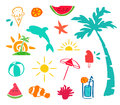 Summer hand drawn beach icon element set