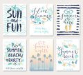 Summer hand drawn calligraphyc card set. Royalty Free Stock Photo