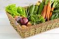 Summer harvest basket of farmers vegetables and garden herbs Stock Photo
