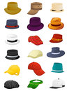 Summer hats for men set of isolated on white background Stock Photos