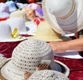 Summer hats for sale on a stand Royalty Free Stock Photo
