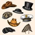 Summer Hats vintage collection for elegant men. Fedora Derby Deerstalker Homburg Bowler Straw Beret Captain Cowboy Royalty Free Stock Photo