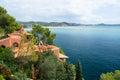 Summer hause villa terace and balcony at mallorca sea side luxury paguera beach Stock Image