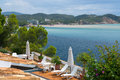 Summer Hause Villa terace sunbeds at Mallorca sea side Royalty Free Stock Photo