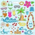 Summer Hawaiian Beach Vacation Doodles Vector Royalty Free Stock Photo