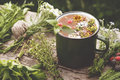 Summer healthy herbal tea in old enameled mug and bunches of healing herbs on wooden board. Herbal medicine. Royalty Free Stock Photo