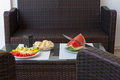 Summer healthy snack served on outdoor porch table Royalty Free Stock Photo
