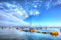 Summer heat wave brixham devon harbour uk with calm blue sea and sky in hdr england english day by yacht club brilliant colourful Stock Photography