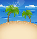 Summer holiday background with beach palm sky illustration Royalty Free Stock Image