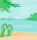 Summer holiday background with footprints illustration Stock Photos