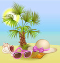 summer holiday background with palm,chair,hat, shells and sunglasses Royalty Free Stock Photo