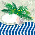 Summer holiday background with palm tree and shell Royalty Free Stock Photo