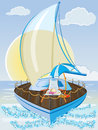 Summer holiday background with sailing ship chair and umbrella Stock Photos