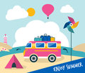 Summer holiday cartoon illustration. Retro travel bus concept. Royalty Free Stock Photo